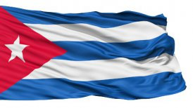 Realistic 3D detailed slow motion Cuba flag in the wind