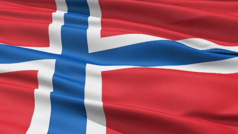 Realistic 3D detailed slow motion norway flag in the wind - stock footage