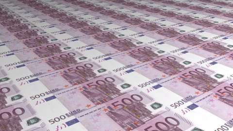 Diagonal Background Multiple 500 Euro Bills - stock footage