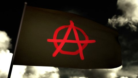 Anarchist flag 02 - stock footage