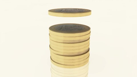 Euro coin pile 01 - stock footage