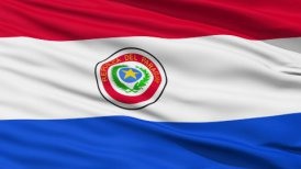 Waving national flag of Paraguay