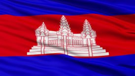 Waving national flag of Cambodia