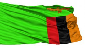 Waving national flag of Zambia