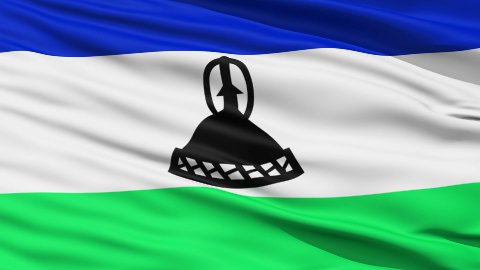 Waving national flag of Lesotho - stock footage