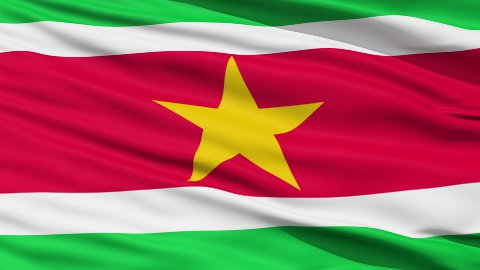 Waving national flag of Suriname - stock footage