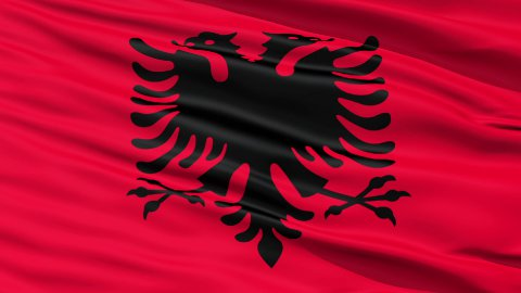 Waving national flag of Albania - stock footage