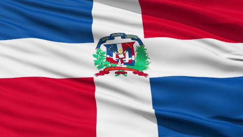 Waving national flag of Dominican - stock footage