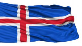 Waving national flag of Iceland