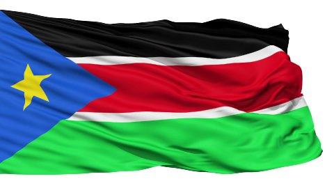 Waving national flag of South Sudan - stock footage
