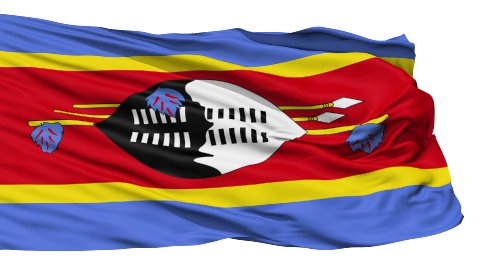 Waving national flag of Swaziland - stock footage