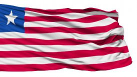 Waving national flag of Liberia
