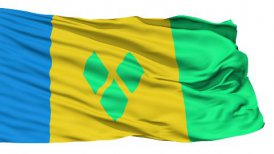 Waving national flag of Saint Vincent Grenadines