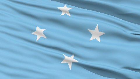 Waving national flag of Micronesia LOOP - stock footage