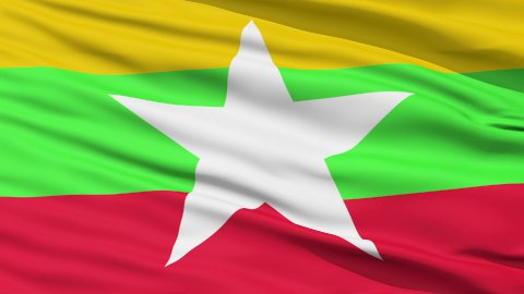 Waving national flag of Myanmar LOOP - stock footage
