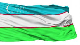 Waving national flag of Uzbekistan