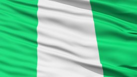 Waving national flag of Nigeria