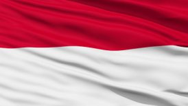 Waving national flag of Indonesia