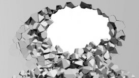 Crumbling concrete wall with hole - editable clip, motion graphic, stock footage