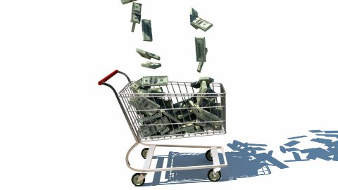 Shopping cart full of money - stock footage