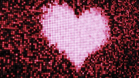 heart shape on digital screen seamless loop - stock footage