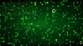 green loopable information technology background binary symbols zeros and ones