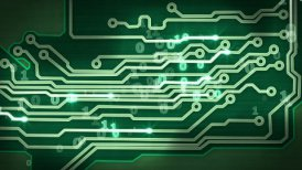 green circuit board providing signals loop hi-tech background