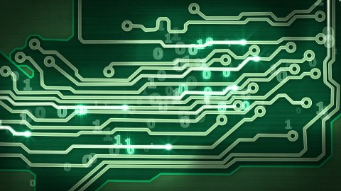 green circuit board providing signals loop hi-tech background - stock footage