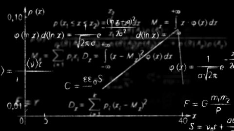 math physics formulas black and white loopable - stock footage