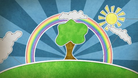 summer scene with rainbow decoration loop - stock footage
