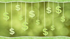 green dollar signs dangling on strings loop background - motion graphic