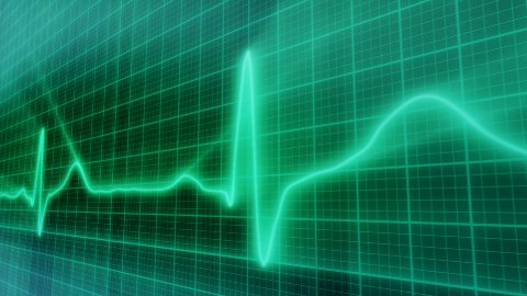 loopable background EKG electrocardiogram pulse real waveform - stock footage