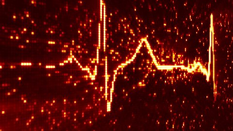 digital pixel EKG electrocardiogram pulse orange loopable background - stock footage