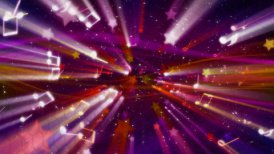 loopable musical background flying shiny notes, stars and particles