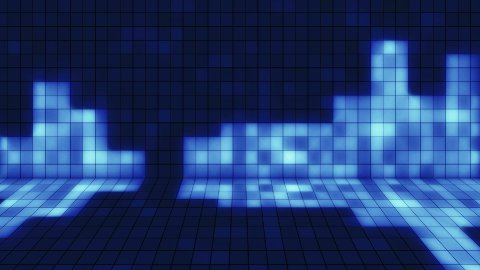beaming blue squares musical loopable background - stock footage