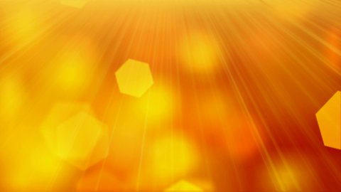 loopable orange background slowly flying hexagon blurred particles - stock footage