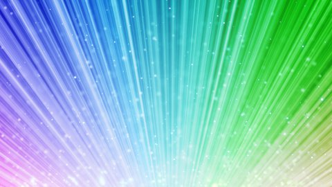 rainbow loopable background light beams and flying blinking particles - stock footage