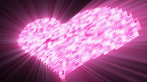 love shape shine pink heart with luma matte - stock footage