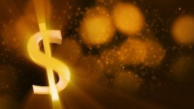 looping shiny dollar sign and golden dust - motion graphic
