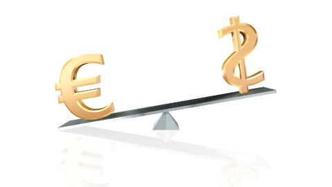 dollar and euro signs on teeter-totter loopable with luma matte - stock footage