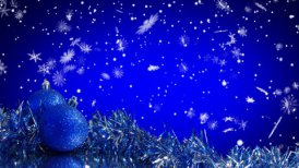 blue christmas tree decoration and snowfall alpha loop
