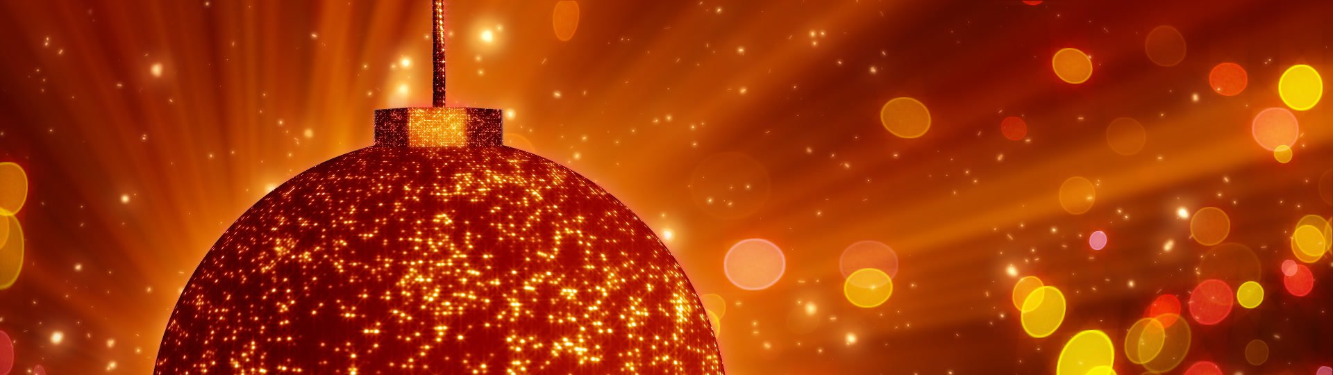 Orange christmas ball close-up and lights loop | computer generated seamless loop abstract background. orange christmas rotating balls close-up and flying glitter particles. Progressive scan - ID:12232