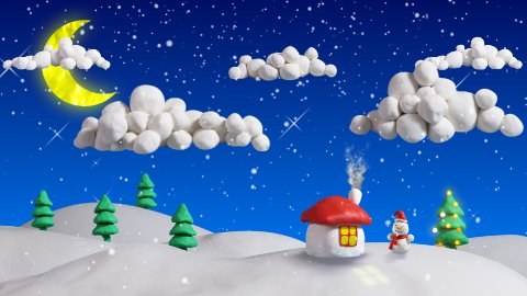 winter christmas scene house and firs loop clay animation - stock footage