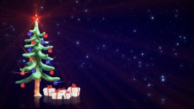 clay christmas tree and glitter particles loopable - motion graphic