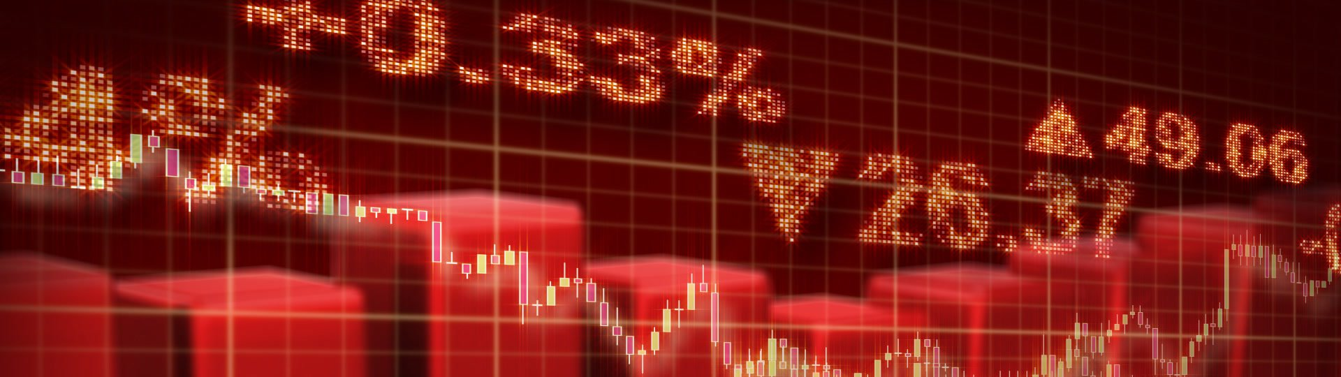 Stock market red loopable business background | computer generated red seamless loop business stock market background. Progressive scan. - ID:12243
