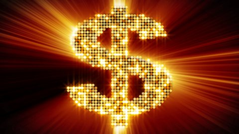 shining dollar sign of particles loopable - stock footage