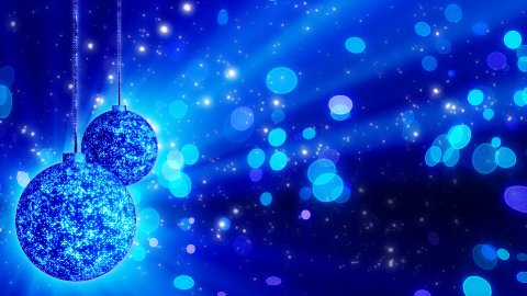 two blue christmas balls loop rotating - stock footage