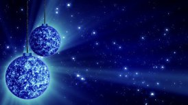 blue christmas balls and glitter particles loop