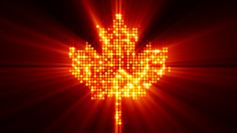 maple leaf of glowing red yellow particles with alpha matte - stock footage