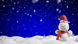 clay animation snowman and snowfall loopable - motion graphic